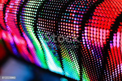 istock Bright colored curved LED screen 512223950