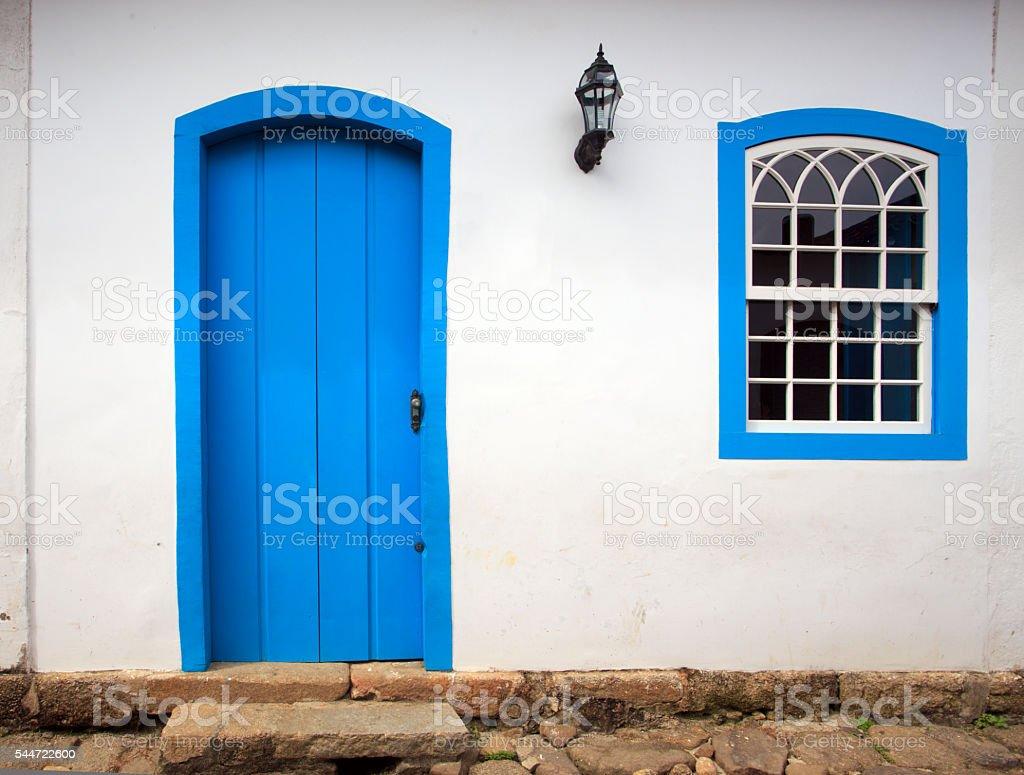 bright colored facade stock photo
