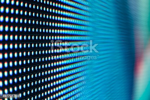 istock Bright colored light blue LED SMD screen 492701714