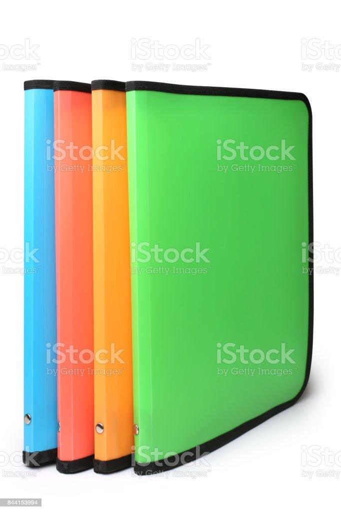Bright colored plastic folders stock photo