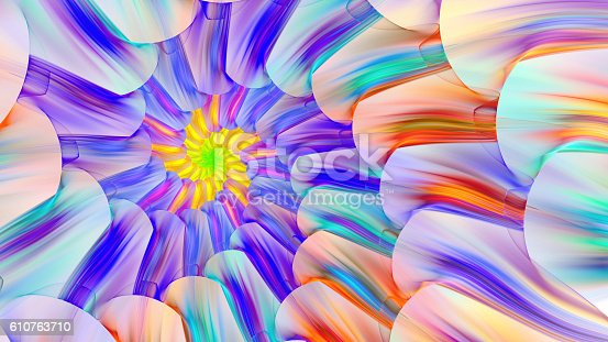 istock Bright colored stained glass with spirals. 610763710