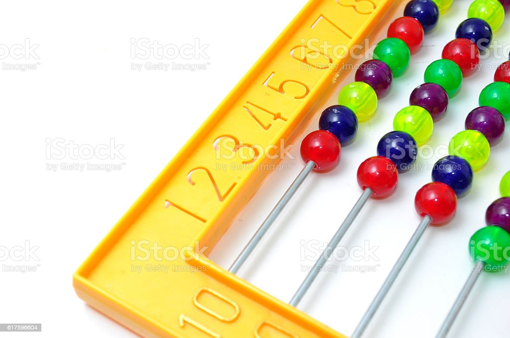 Bright colorful abacus on white background stock photo
