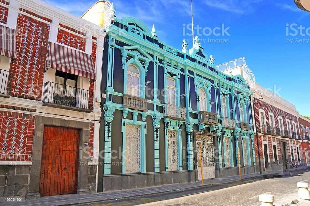 Bright Colorful Buildings in Puebla, Mexico stock photo