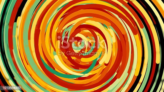 istock Bright colorful circle lines, cartoon style backdrop, computer generated modern abstract background, 3d render 1013558352