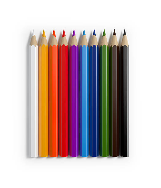 bright colorful colored pencils forming a horizontal raw - coloured pencil stock photos and pictures