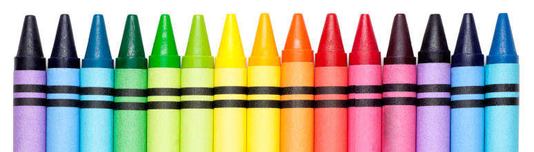 This is a photograph of generic colorful crayons in a row against a pure white background.Click on the links below to view lightboxes.