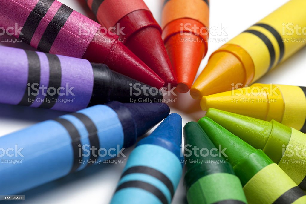 Bright Colorful Crayons stock photo