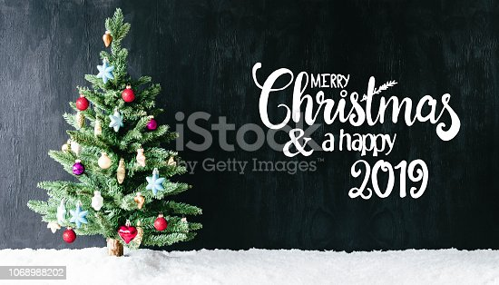 istock Bright Colorful Decorated Tree, Calligraphy Merry Christmas And Happy 2019 1068988202