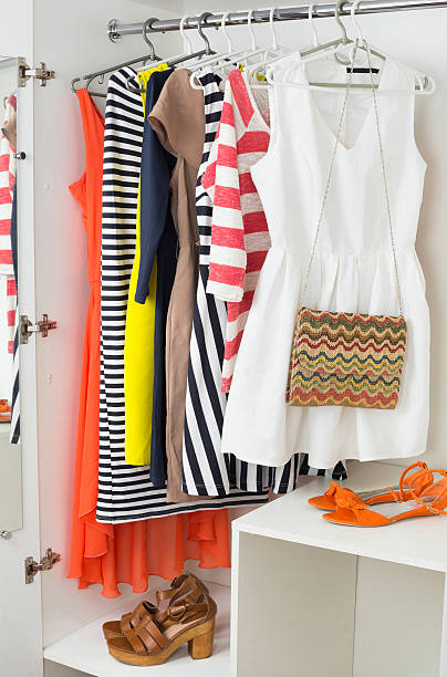 bright colorful female fashion clothes stock photo
