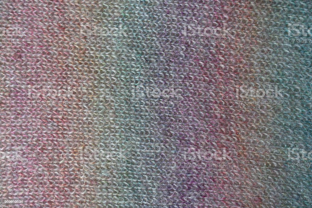 Bright colorful handmade knitted fabric stock photo