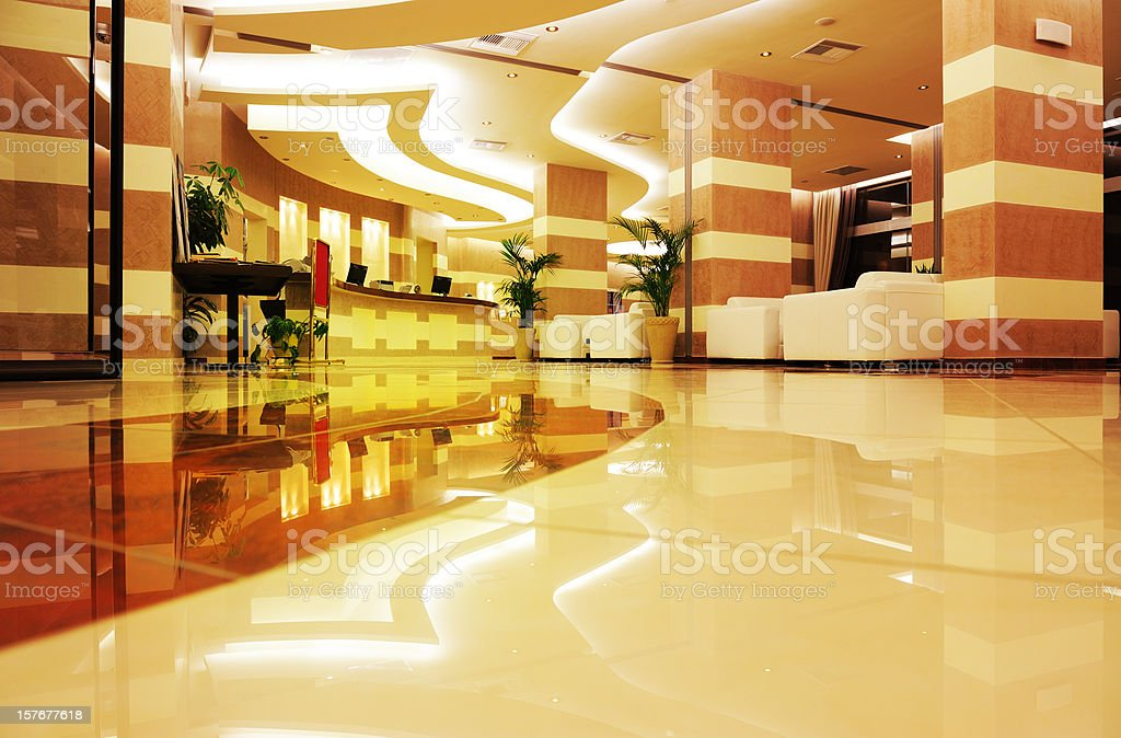 Bright, colorful hotel entrance in marble and stone stock photo