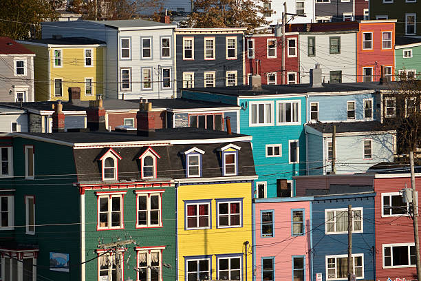Bright colorful houses in St John, Newfoundland, Canada stock photo