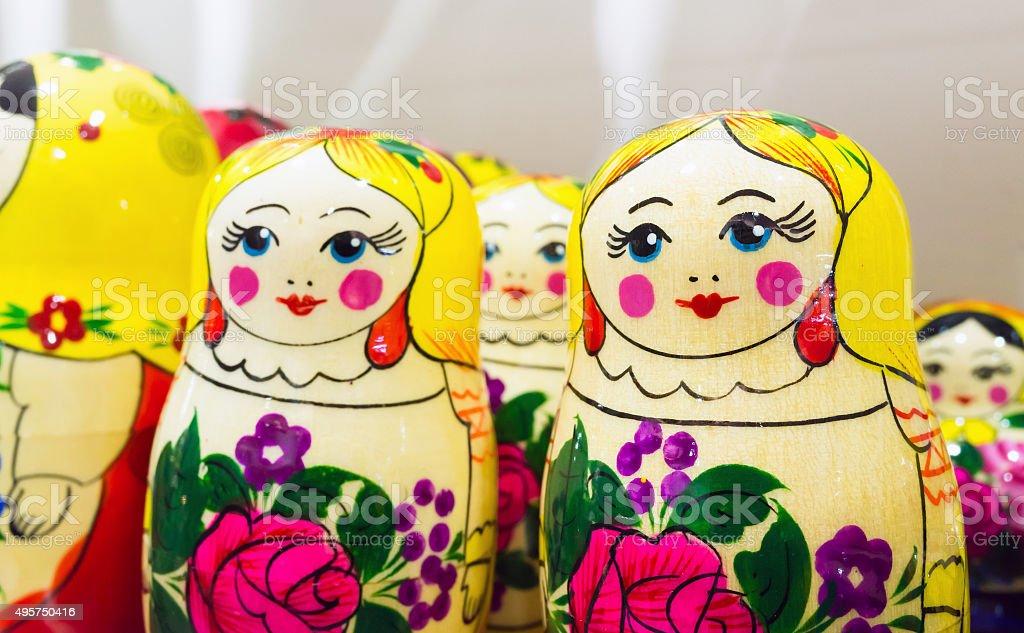 Bright colorful Matryoshka dolls, popular souvenir stock photo