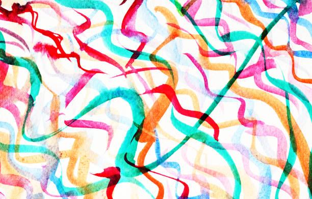 Bright colorful multicolored stripes on white paper stock photo