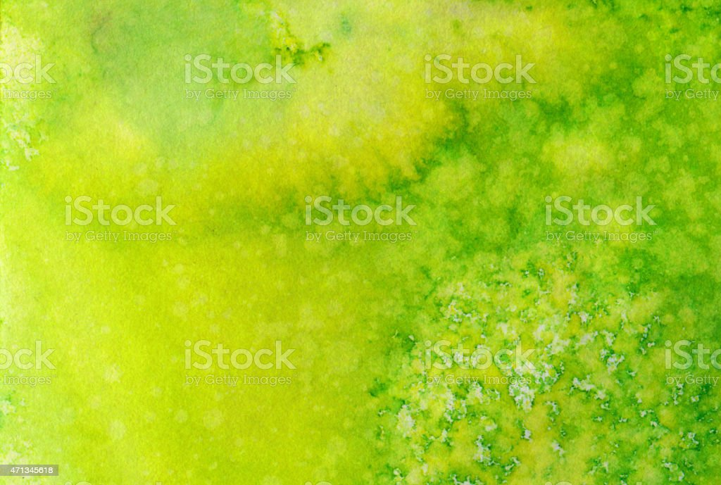 Bright colorful yellow and green hand painted background stock photo