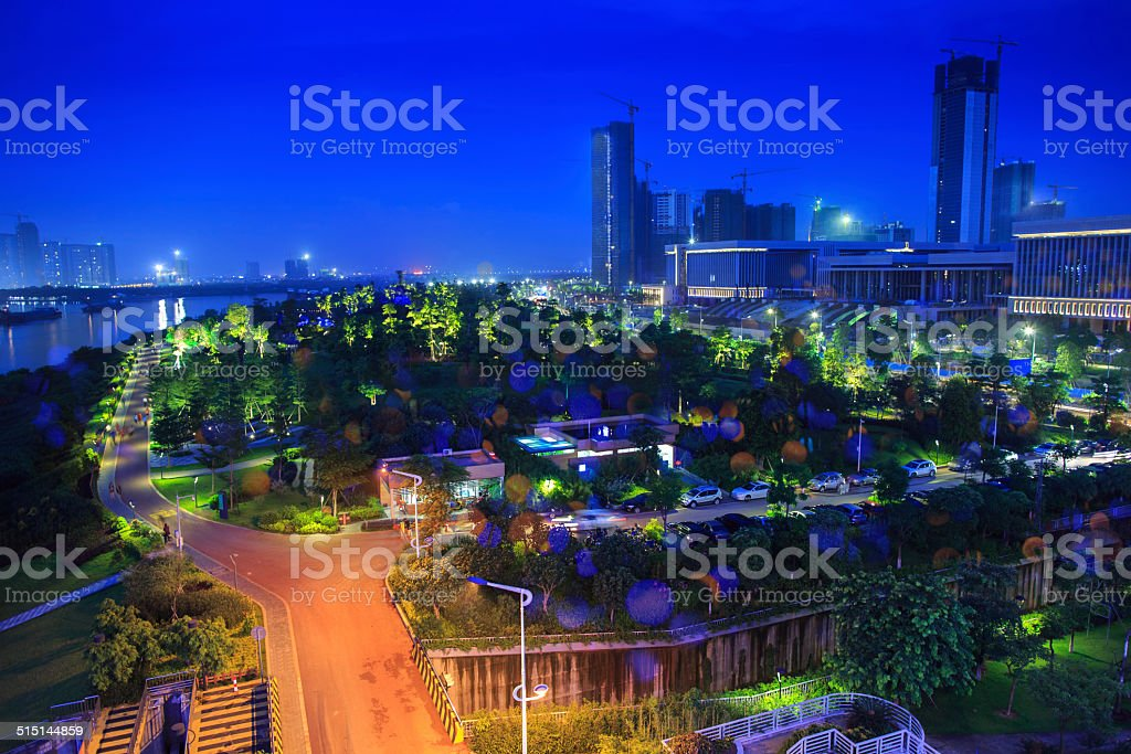 Bright Colourful Foshan City Landscape At Night Stock Photo Download Image Now Istock