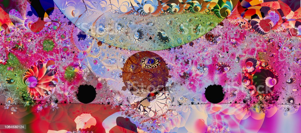 Bright colourful psychedelic fractal pattern stock photo