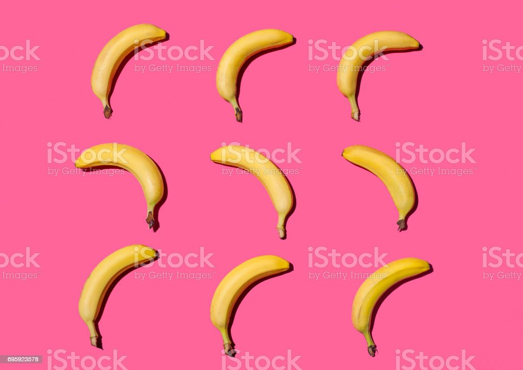 Bright composition of bananas stock photo