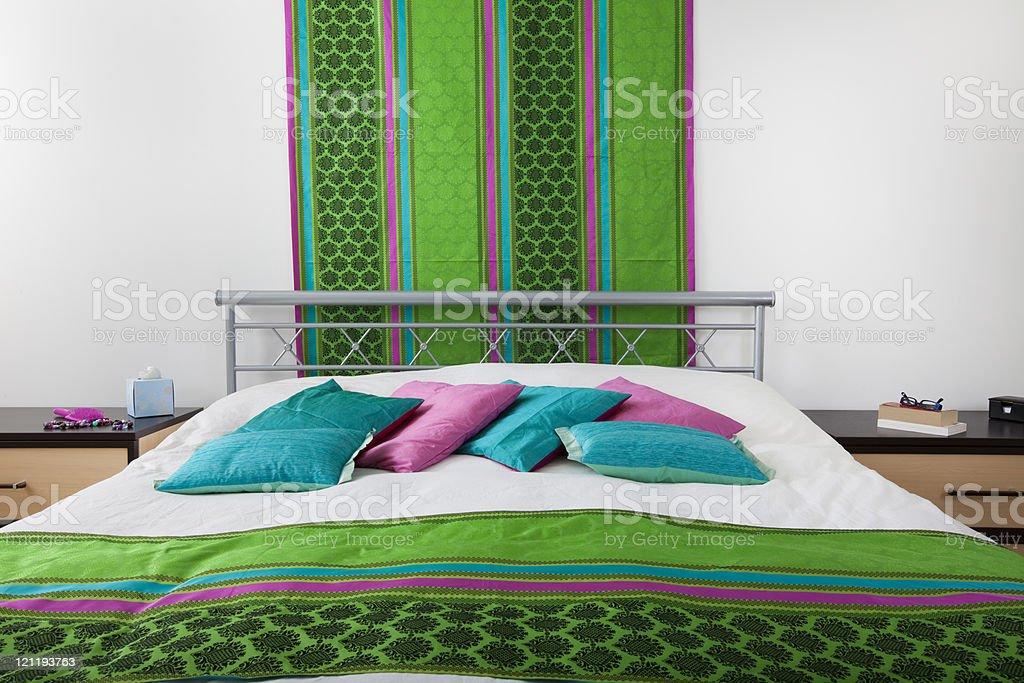 Bright contemporary bedroom royalty-free stock photo