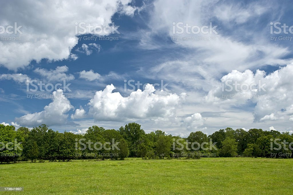 Bright country sky in spring stock photo