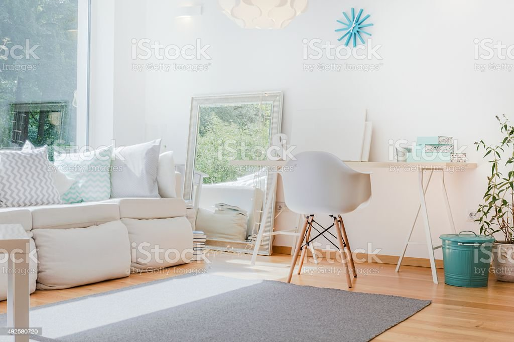 Bright cozy room stock photo