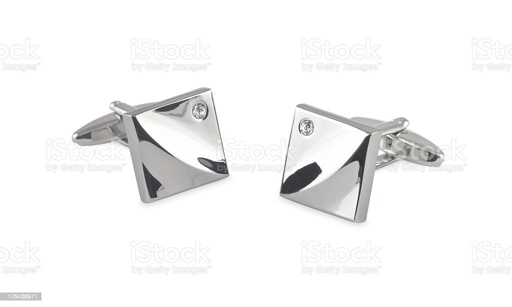 bright cufflinks with crystals stock photo