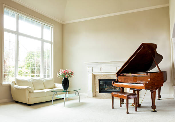 Bright daylight living room with grand piano - Photo