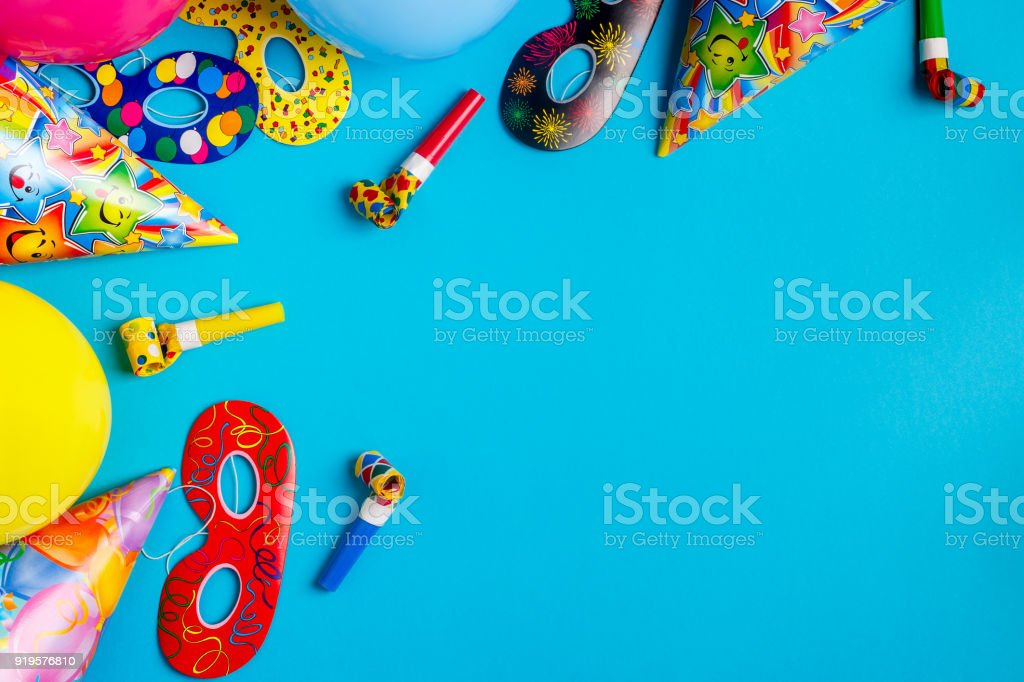 Bright decor for a birthday, party, festival or carnival. Top view.