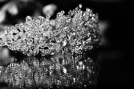 Bright Diamond Crown On Black Background Stock Photo ...