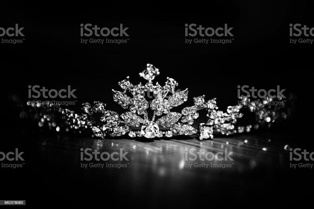 Bright Diamond Crown on Black Background stock photo
