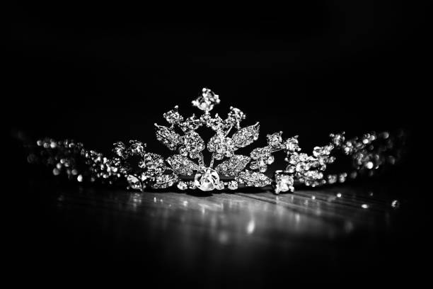 Bright Diamond Crown on Black Background Crown - Headwear, Tiara, Jewelry, backgrounds, bride crown. diademe stock pictures, royalty-free photos & images