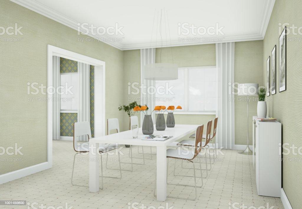 Luminoso Comedor Diseño De Interiores En Apartamento Moderno Foto de stock  y más banco de imágenes de Accesorio personal
