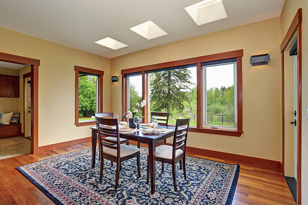Bright dining room interior design with elegant table setting – Foto