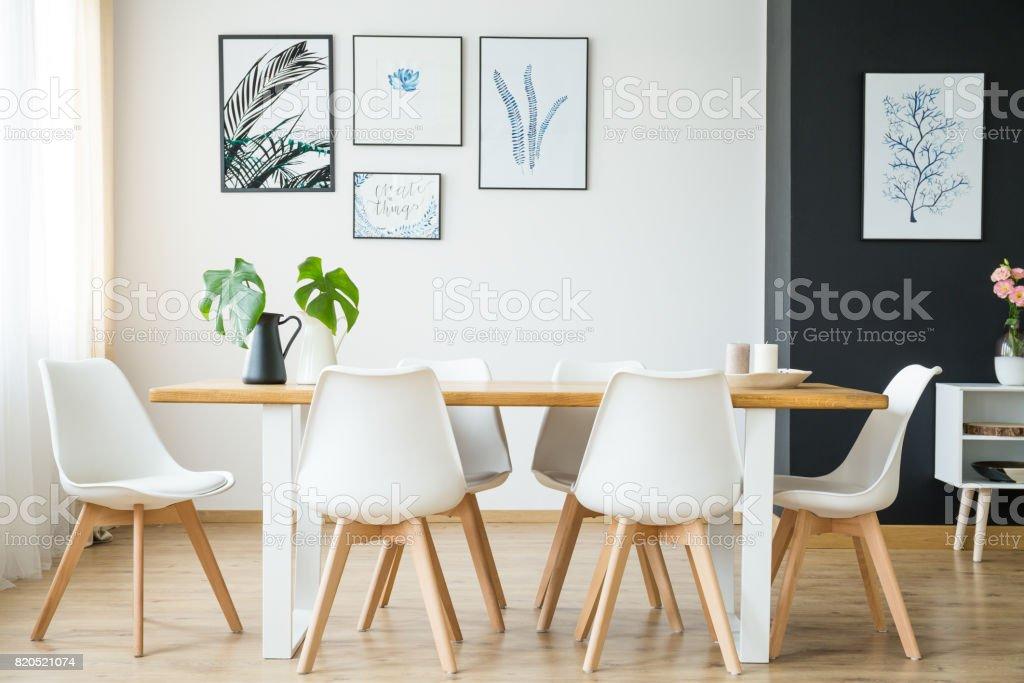 Bright dining room stock photo