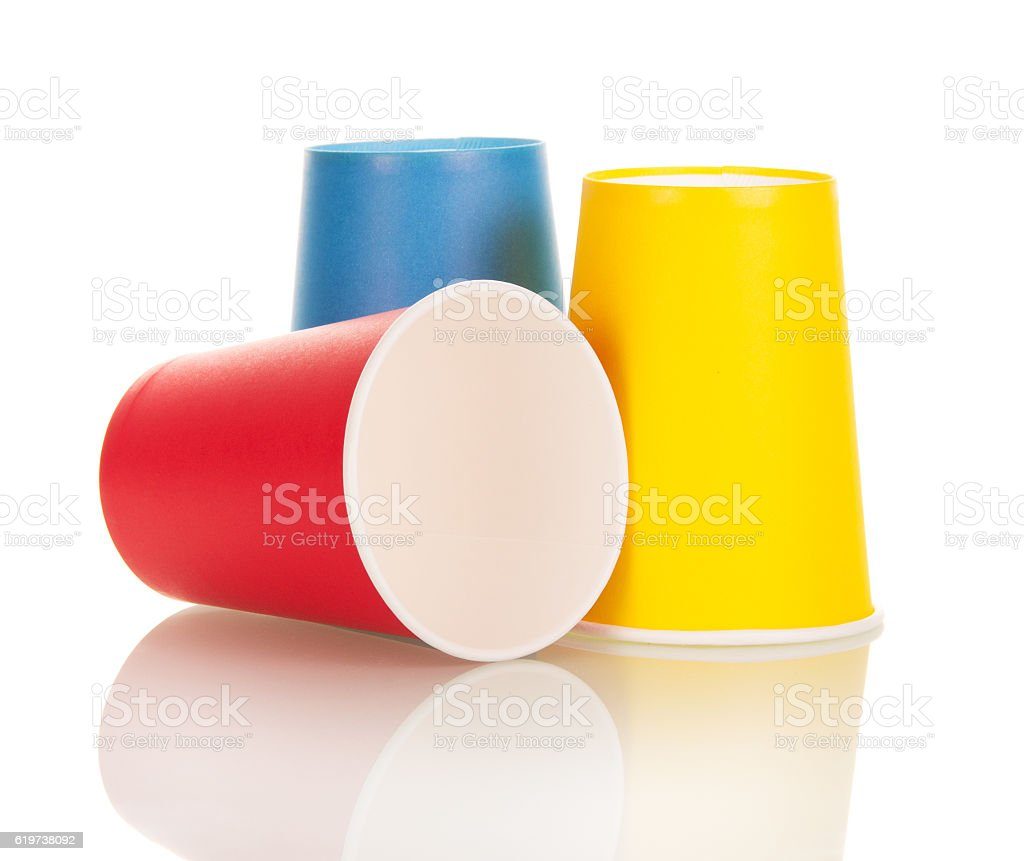 Bright Disposable Paper Cups Isolated On White Stock Photo