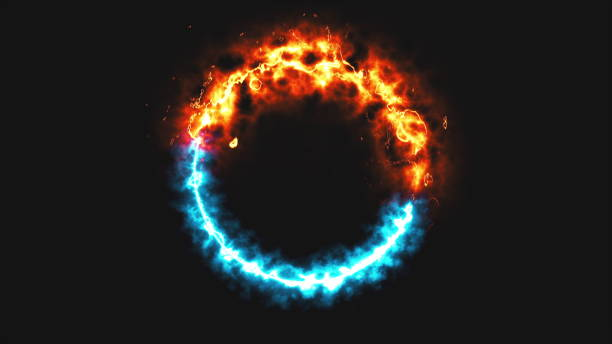 bright dymanic fire and ice ring in space, this is opposite symbol, 3d render, computer generated background - ice on fire foto e immagini stock