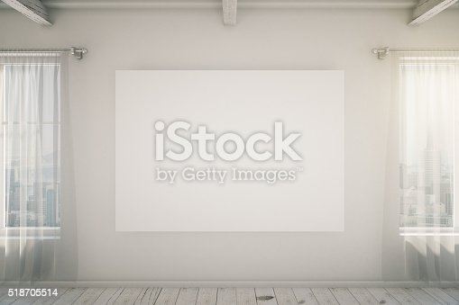 518847146istockphoto Bright empty interior with blank picture frame, mock up 518705514