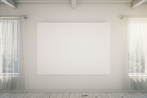 518847146 istock photo Bright empty interior with blank picture frame, mock up 518705514