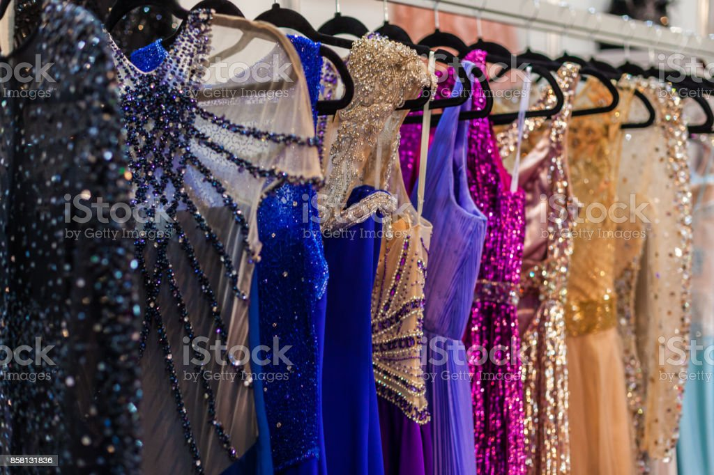Bright evening dresses stock photo