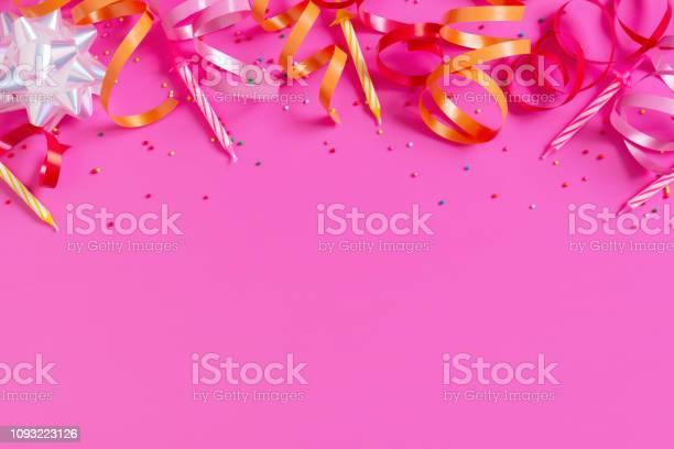 Bright festive pink background with birthday party accessories picture id1093223126?b=1&k=6&m=1093223126&s=612x612&h=3xdvedmfrxyetv yxhs9zrsljs ac76qzv75ikzccom=