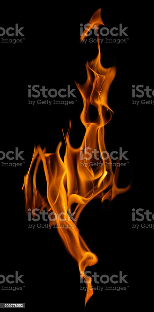 Bright Flame Column Spark Isolated On Black Stock Photo & More