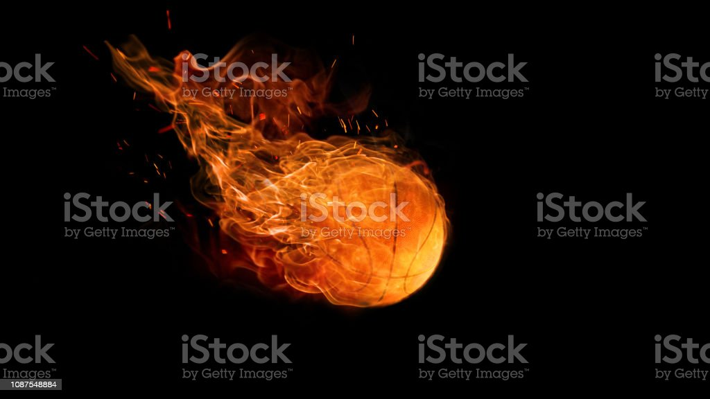 bright flamy symbol on the black background stock photo