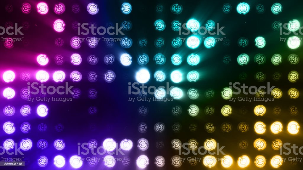 Bright flood lights flashing abstract colorful background stock photo