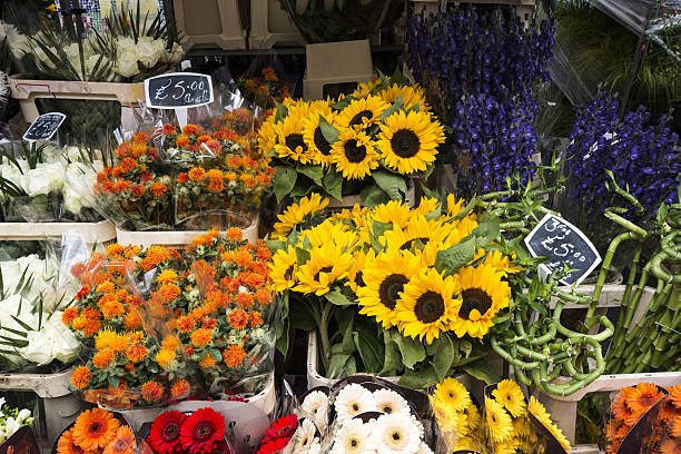 Bright floral bouquets at a London Flower Market stock photo