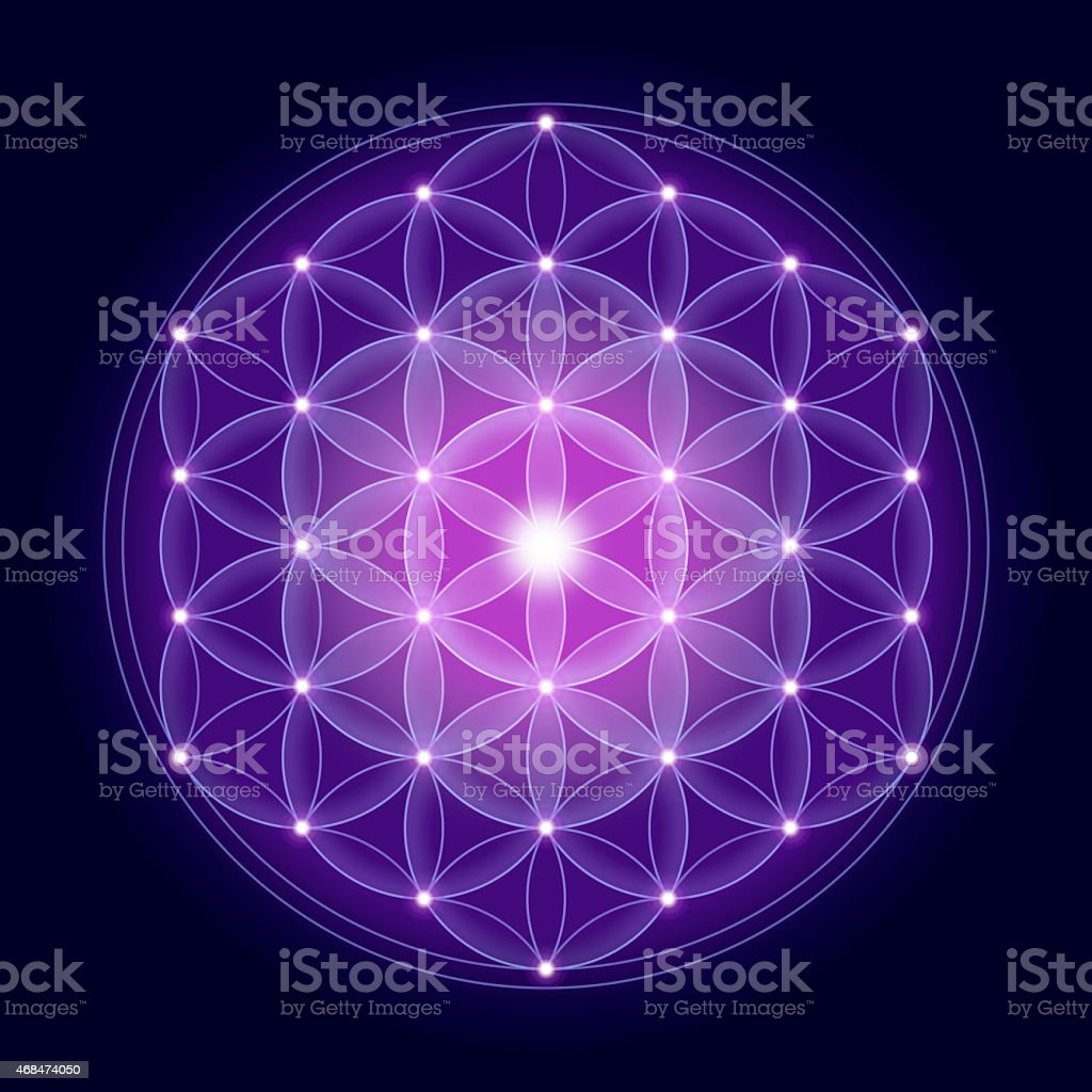 Bright Flower of Life With Stars stock photo