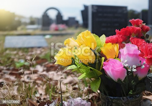 A vase of brightly colored artificial flowers rests on a grave; more graves and memorials stretch out behind it.