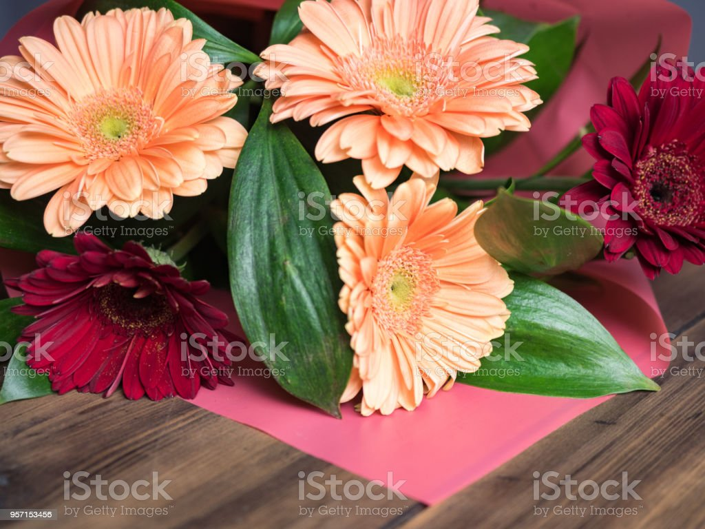 Bright Flowers On Wooden Background Wedding Flowers Closeup