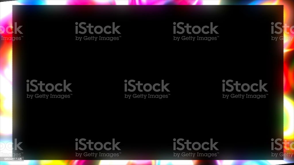Bright frame. Dynamic border with shiny abstract art, 3d render background, element for design, computer generating stock photo
