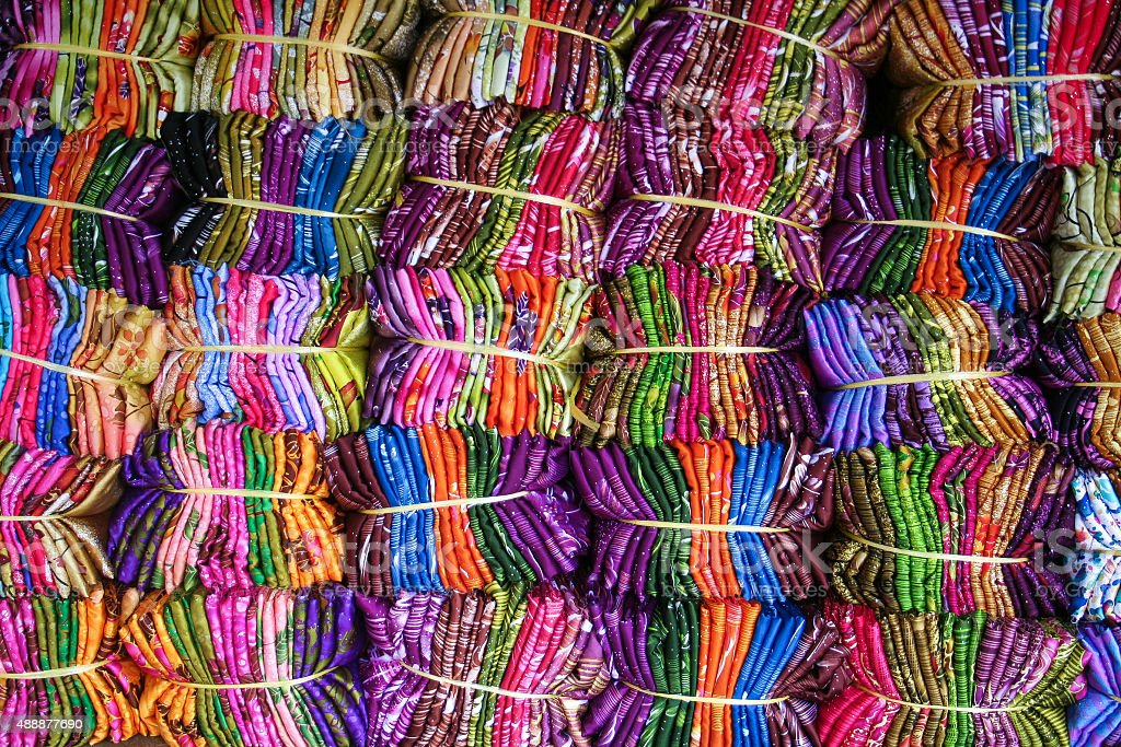Bright Free Trade Fabric - Textile Market stock photo