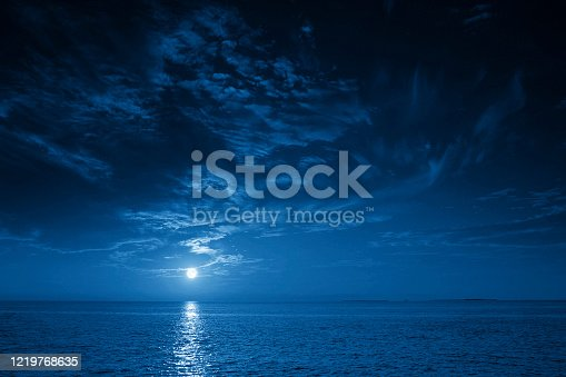 This photo illustration of a deep blue moonlit ocean at night with calm waves would make a great travel background for any coastal region or vacation, emphasizing the beauty of the night time ocean or sea.